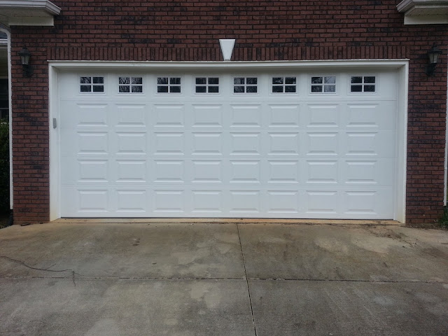 Two Car White Garage Door