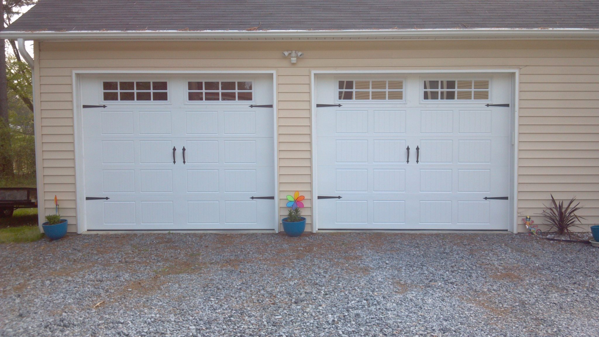 2 single garage doors with hardware 2 pineville nc a for How big is a two car garage door