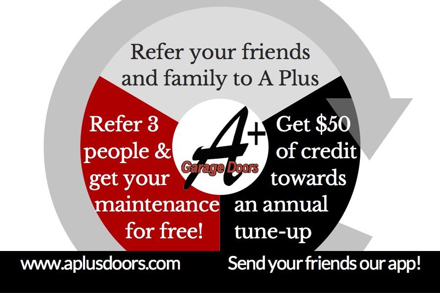 A Plus Garage Doors Referral Card
