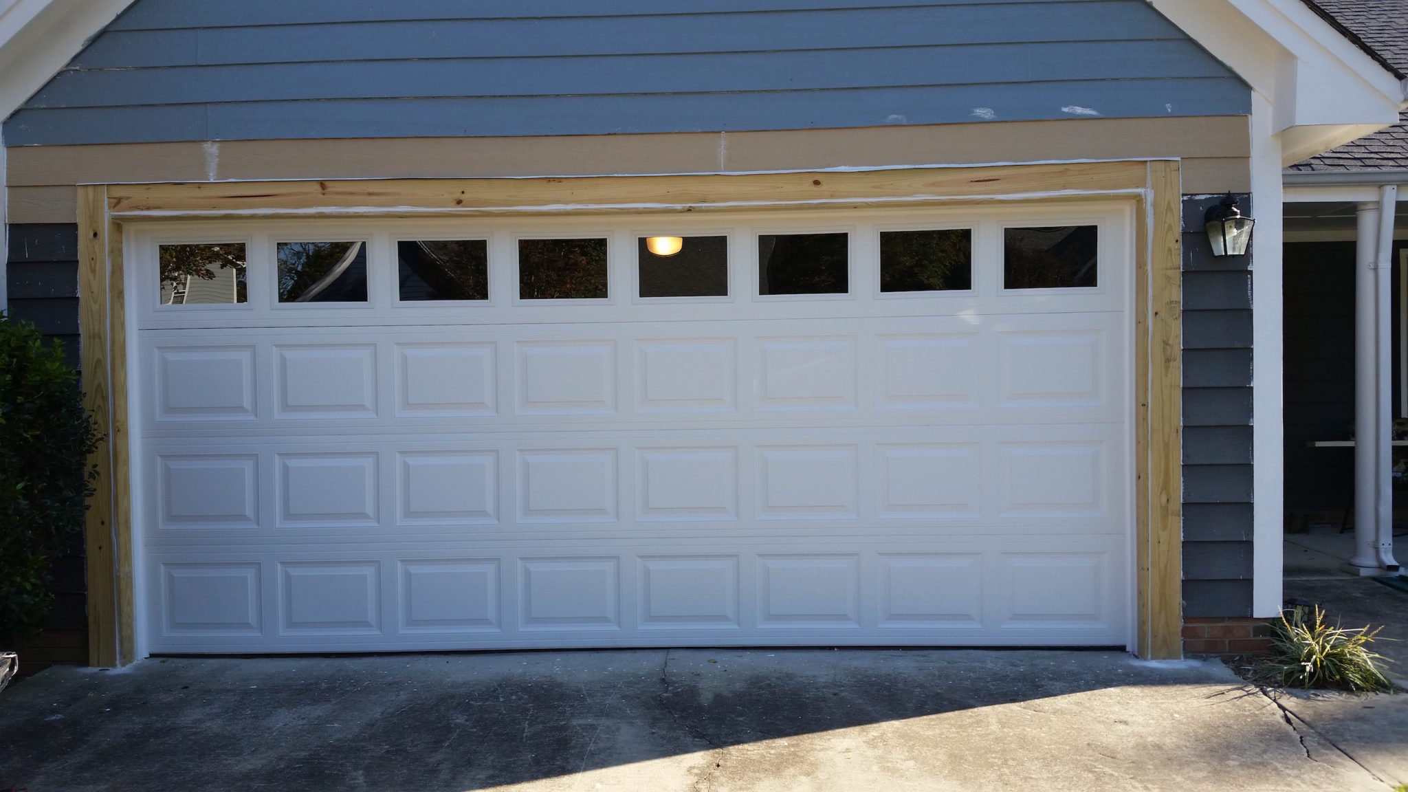 South charlotte residential garage door framing repair for Garage door installation jobs