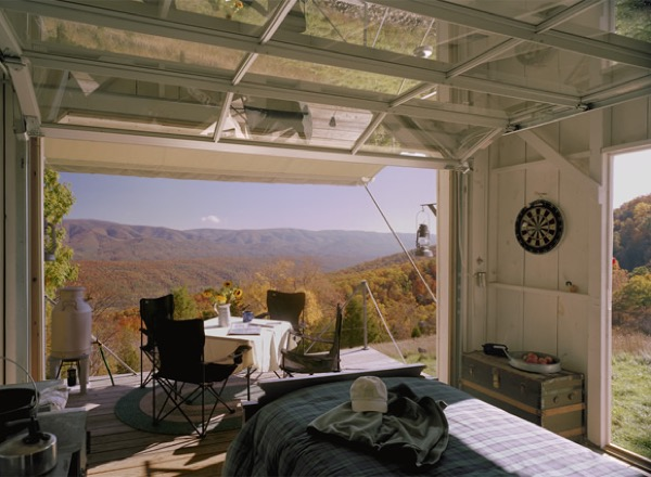 Mountaintop Tiny House Garage Door View Residential Home
