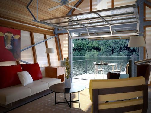 Tiny House Garage Door Residential Waterfront View