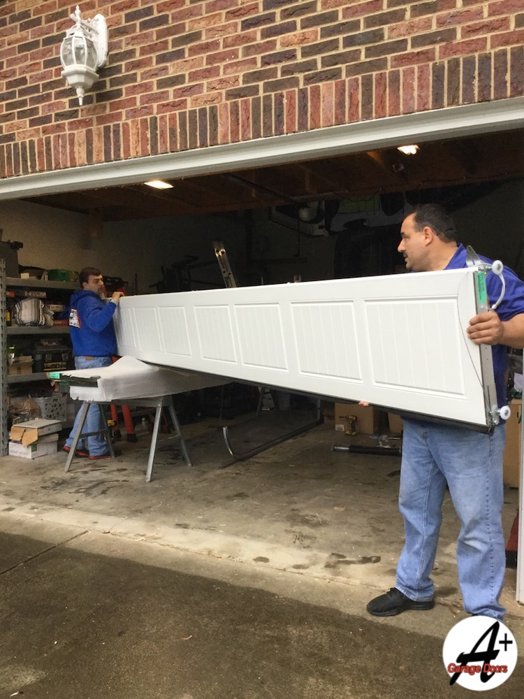 New Residential Garage Door Panel Day In Field